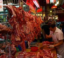 Chinese butcher shop, Temple Street, Hong Kong by John Mitchell