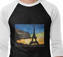 Paris Watercolor  Men's Baseball ¾ T-Shirt