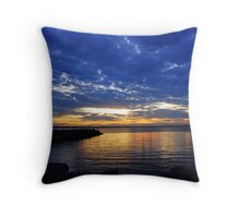 Blue Clouds over Ottawa River Throw Pillow