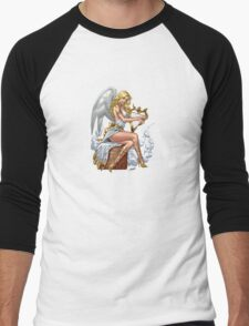 Sexy Blond Angel with Harp by Al Rio Men's Baseball ¾ T-Shirt