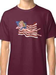 Sexy Blond with American Flag Bikini by Al Rio Classic T-Shirt