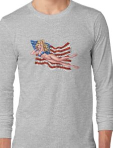 Sexy Blond with American Flag Bikini by Al Rio Long Sleeve T-Shirt