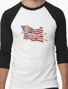 Sexy Blond with American Flag Bikini by Al Rio Men's Baseball ¾ T-Shirt