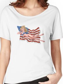 Sexy Blond with American Flag Bikini by Al Rio Women's Relaxed Fit T-Shirt