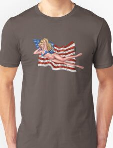 Sexy Blond with American Flag Bikini by Al Rio T-Shirt