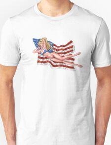 Sexy Blond with American Flag Bikini by Al Rio Unisex T-Shirt