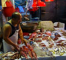 Chinese fish market, Temple Street, Mongkok. by John Mitchell