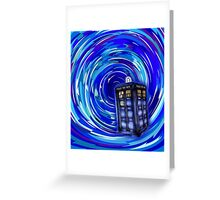Blue Phone Box with Swirls Greeting Card