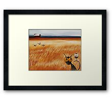 Stressie cat and the crows in the hay fields Framed Print