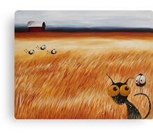 Stressie cat and the crows in the hay fields Canvas Print