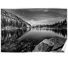 Lower Red Pine Lake - Black and White Poster