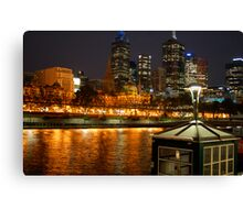 Melbourne city river lights  Canvas Print