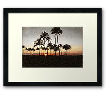 Hawaiian Sunset Rock Painting Framed Print