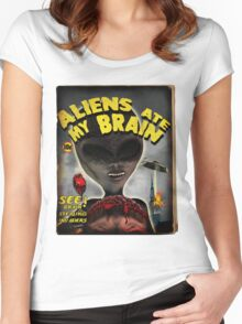 Aliens Ate My Brain (Pulp Cover) Women's Fitted Scoop T-Shirt