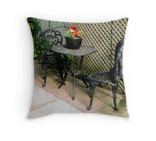 pretty, vintage, table and chairs Throw Pillow