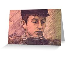 BOB DYLAN WITH HARMONICA Greeting Card