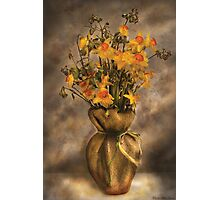 Daffodils in a Burlap Vase Photographic Print