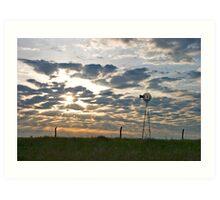 Windmill at Sunrise Art Print