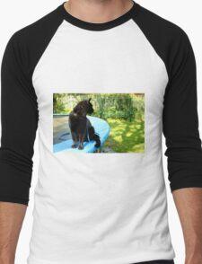 black outdoor cat  Men's Baseball ¾ T-Shirt