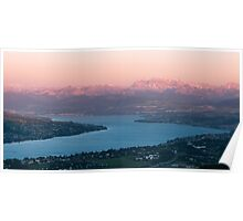 sunset scenery at lake zuerich Poster