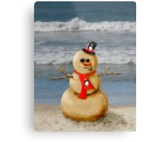 Sand Snowman at the beach! Metal Print