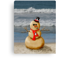 Sand Snowman at the beach! Canvas Print