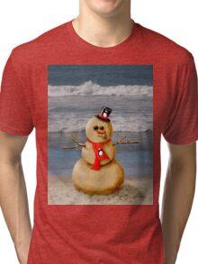 Sand Snowman at the beach! Tri-blend T-Shirt