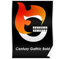 Century Gothic Bold Font Iconic Charactography - G Poster
