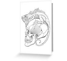 Black and white isolated illustration with iguana and skull Greeting Card