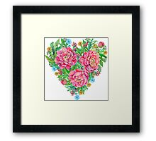 peony flowers and decoration of leaves and branches in heart shape Framed Print