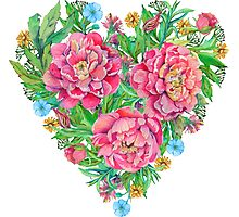 peony flowers and decoration of leaves and branches in heart shape Photographic Print