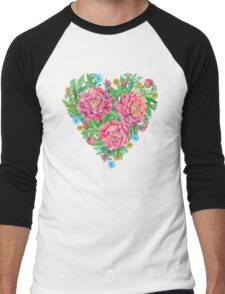 peony flowers and decoration of leaves and branches in heart shape Men's Baseball ¾ T-Shirt