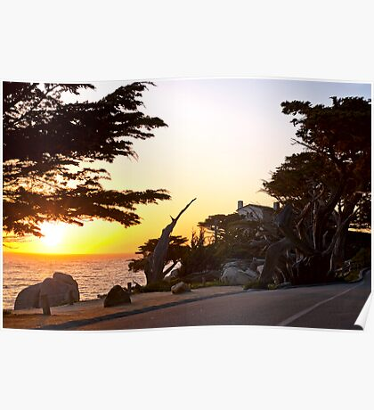 Pacific sunset at Pebble Beach California Poster