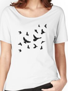 Black flying birds Women's Relaxed Fit T-Shirt