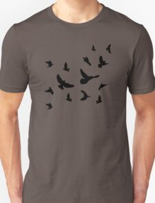 Black flying birds Unisex T-Shirt