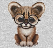 Cute Cougar Cub Wearing Reading Glasses  Kids Clothes