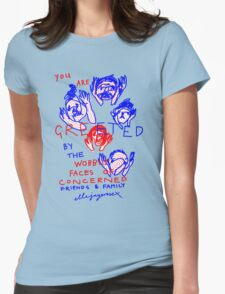 "'Greetings from the Wobbly Faces of Concern"" T-Shirt"