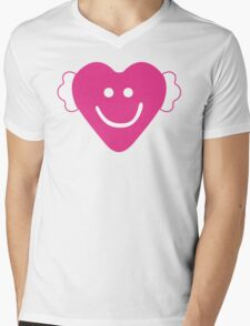 Cute Candy Heart - Grey and Pink Mens V-Neck T-Shirt