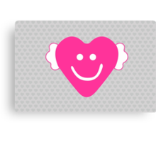 Cute Candy Heart - Grey and Pink Canvas Print