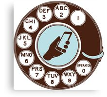 Dial numbers with analoque mobile phone Canvas Print