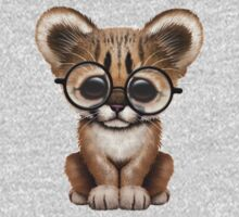 Cute Cougar Cub Wearing Reading Glasses on Deep Red Kids Clothes