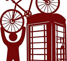Telephone booth box  with a man and s bike on a roof symbol  by SofiaYoushi
