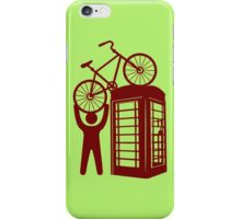 Telephone booth box  with a man and s bike on a roof symbol  iPhone Case/Skin