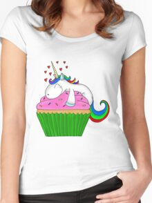 Unicorn Cupcake Women's Fitted Scoop T-Shirt