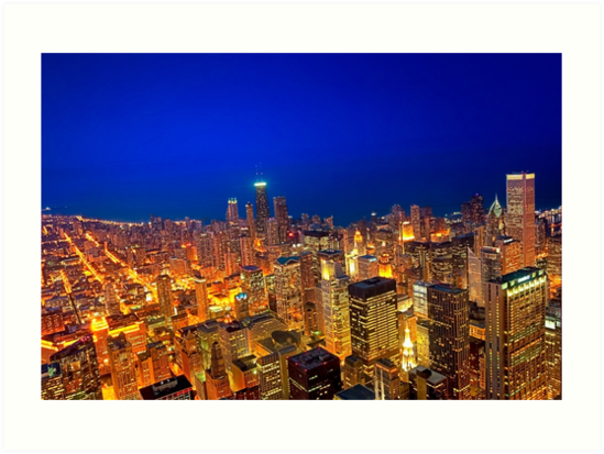 Golden Valleys - Chicago Skyline at Dusk by Mark Tisdale