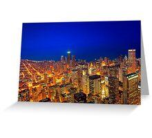Golden Valleys - Chicago Skyline at Dusk Greeting Card