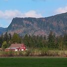 Red Barn and Mountain Range by Stacey Lynn Payne