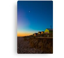 Dusk Beach Boxes Canvas Print