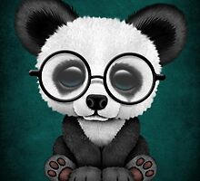 Cute Panda Bear Cub with Eye Glasses on Teal Blue by Jeff Bartels