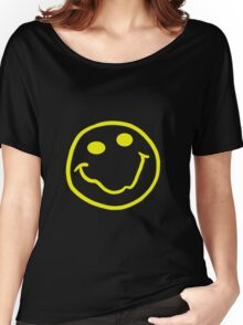 Nirvana style smiley face yellow Women's Relaxed Fit T-Shirt